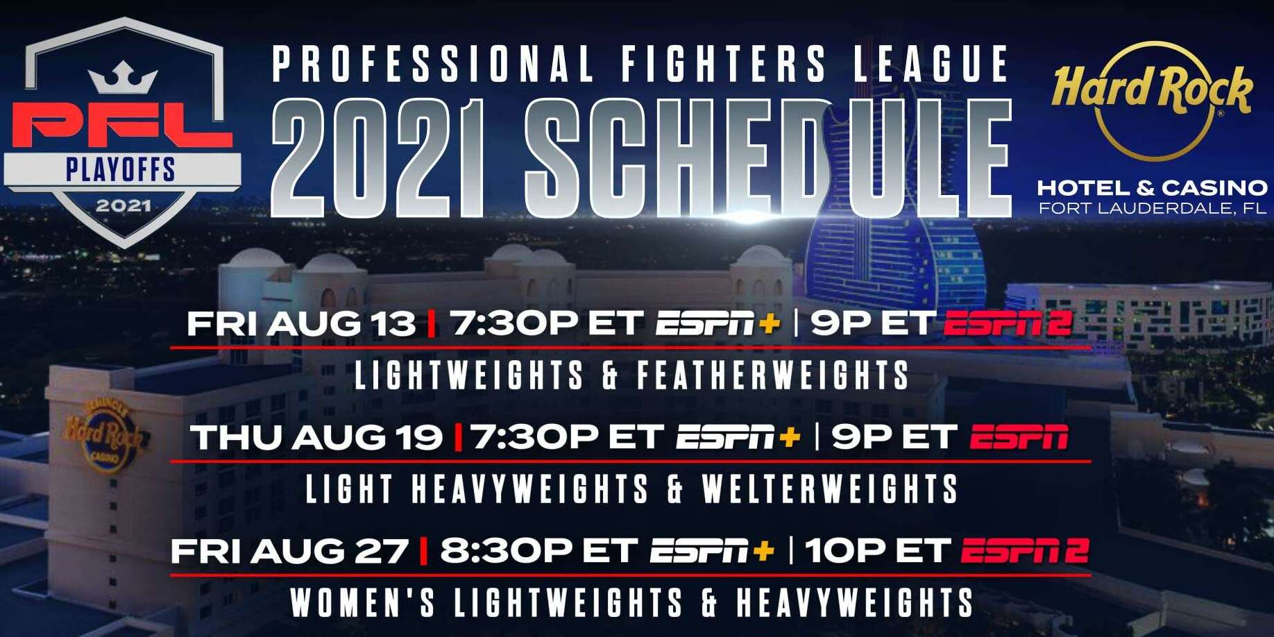 PROFESSIONAL FIGHTERS LEAGUE PLAYOFF RESIDENCY BEGINS FRIDAY, AUGUST 13, CONTINUES ON AUGUST 19 AND 27, LIVE ON ESPN NETWORKS AND STREAMING PLATFORMS