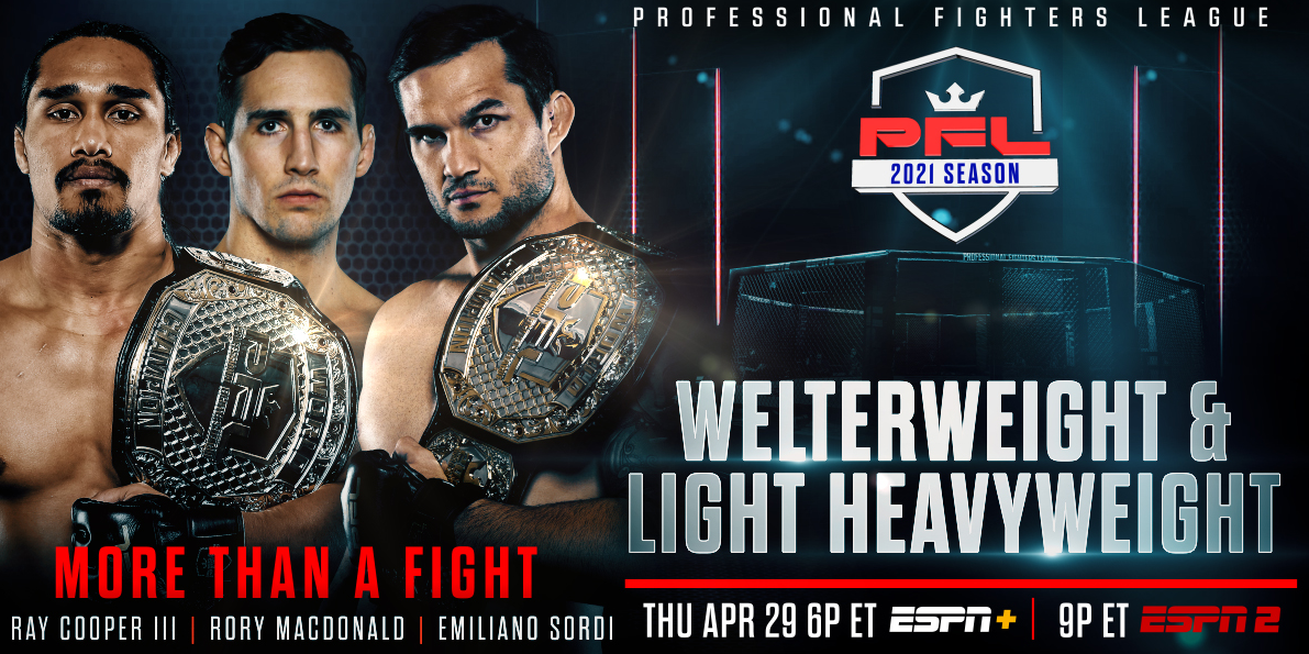 PROFESSIONAL FIGHTERS LEAGUE CONTINUES MOMENTUM WITH WELTERWEIGHT AND LIGHT HEAVYWEIGHT ROSTERS FOR APRIL 29 BROADCAST